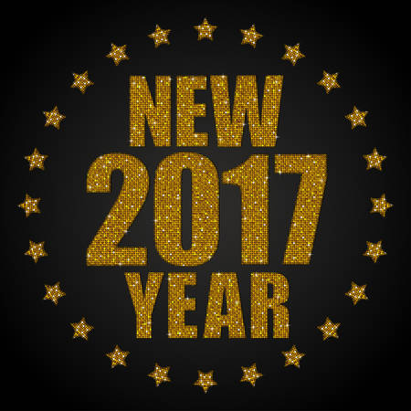 sheen: Happy New Year background for your card. Sparkle glitter background. Glittering Gold sequins frame. Star.