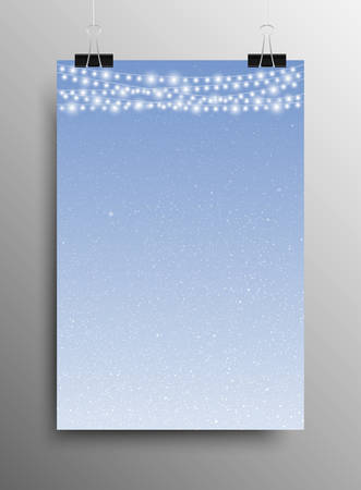 sized: Vertical Poster Banner A4 Sized Vector Hanging With Paper Clips. White Snow Falling Blue Background. Garland Light Bulb. Falling Snow. Winter Holiday. Merry Christmas New Year. Illustration