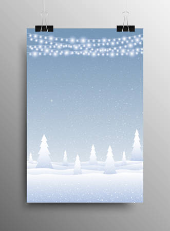 snowdrifts: Vertical Poster Banner A4 Sized Vector Hanging With Paper Clips. White WInter Snow Falling Blue Background. Garland Light Bulb. Falling Snow. Winter Holiday. Snowdrifts. Merry Christmas New Year.