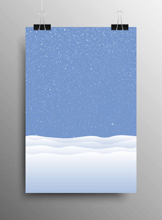 snowdrifts: Vertical Poster Banner A4 Sized Vector Hanging With Paper Clips. White Snow Falling Blue Background. Falling Snow. Winter Holiday. Snowdrifts. Merry Christmas New Year. Illustration