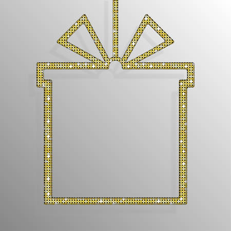 spangles: Frame made of Gold sequins in the form gift box. Mosaic sequins glitter sparkle stars. Illustration