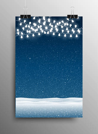 sized: Vertical Poster Banner A4 Sized Vector Hanging With Paper Clips. White WInter Snow Falling Blue Background. Garland Light Bulb. Falling Snow. Winter Holiday. Snowdrifts. Merry Christmas New Year.