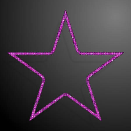 pallette: Frame made of Pink sequins in the form star. Mosaic sequins glitter sparkle stars.