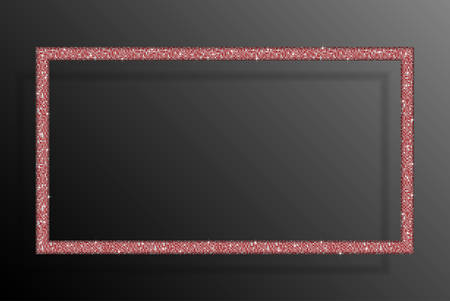 rectangle: Frame made of Red sequins in the form rectangle. Mosaic sequins glitter sparkle stars.