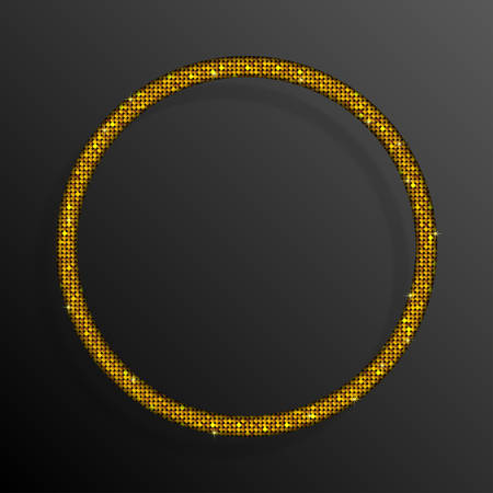 pallette: Frame made of Gold sequins in the form circle. Mosaic sequins glitter sparkle stars.