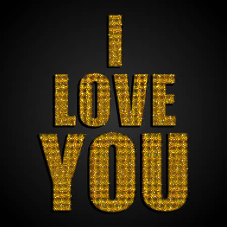metalic texture: Valentines Day Card on 14 February. I Love You. Background for  Poster, Sign, Web, Header. Blur Gold Text, Type for Valentines day, birthday. Mosaic sequins glitter sparkle stars.