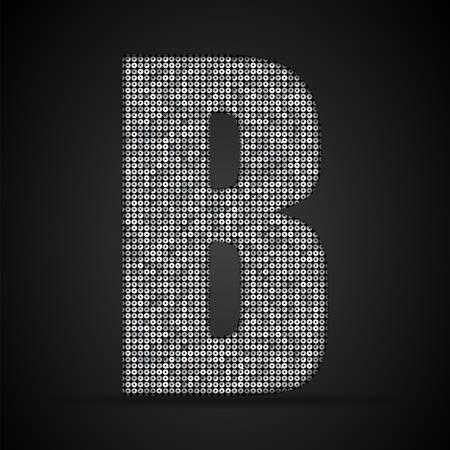 Lettres, chiffres et symboles sous forme de paillettes d'argent.