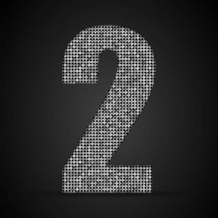 sequin: Letters, numbers and symbols in the form of silver sequins. Illustration