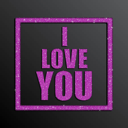 Valentines Day Card on 14 February. I Love You. Background for Poster, Sign, Web, Header. Blur Pink Text, Type for Valentines day, birthday. Mosaic sequins glitter sparkle stars.