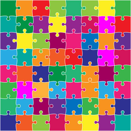 64 Color Puzzles Pieces Arranged in a Square - JigSaw - Illustration. Illustration