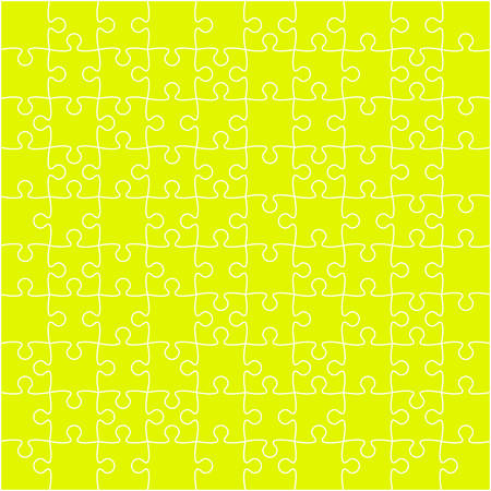 puzzles pieces: 100 Yellow Puzzles Pieces Arranged in a Square - JigSaw - Illustration.