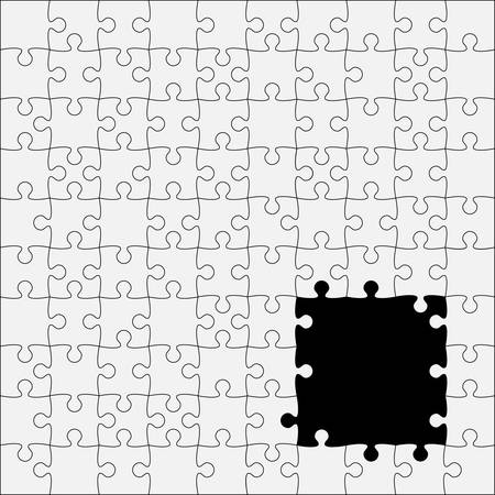 puzzles pieces: 100 White Puzzles Pieces Arranged in a Square - JigSaw - Illustration.