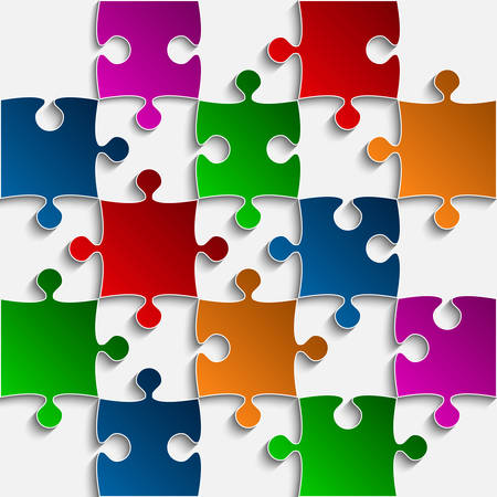 puzzles pieces: 25 Color Puzzles Pieces Arranged in a Square - JigSaw - Illustration. Illustration