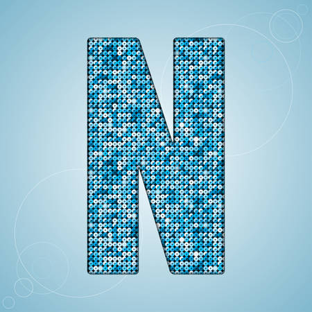 pallette: Letters, numbers and symbols in the form of blue sequins. Illustration