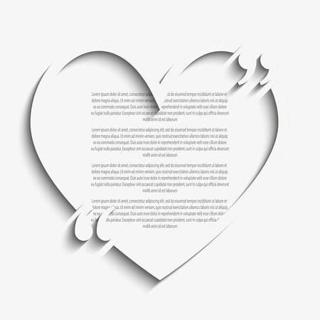 bracket: Quote Blank Template. Quote Heart. Empty Template. Heart Business Card Template Paper Sheet Information, Text. Print Design. Quote Form. Bracket.