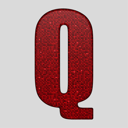 paillette: Letters, numbers and symbols in the form of red sequins.