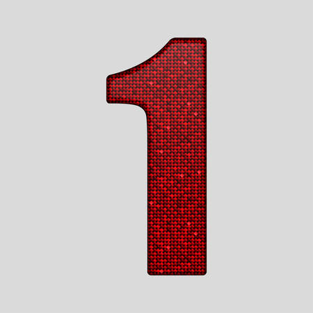 numeric character: Letters, numbers and symbols in the form of red sequins.
