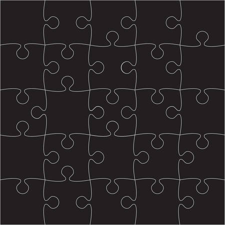 puzzles pieces: 25 Black Puzzles Pieces Arranged in a Square - JigSaw - Illustration.