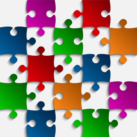 puzzles pieces: 25 Color Puzzles Pieces Arranged in a Square - JigSaw -  Illustration.