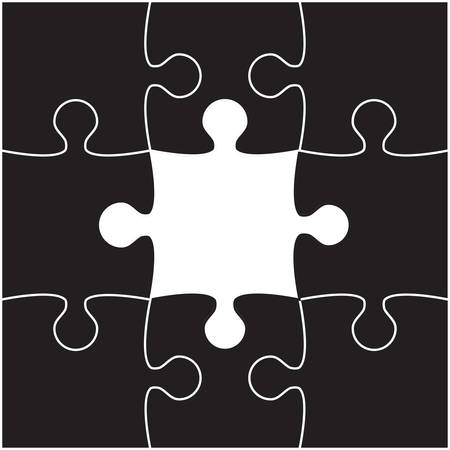 puzzles pieces: 9 Black Puzzles Pieces Arranged in a Square - JigSaw -  Illustration.