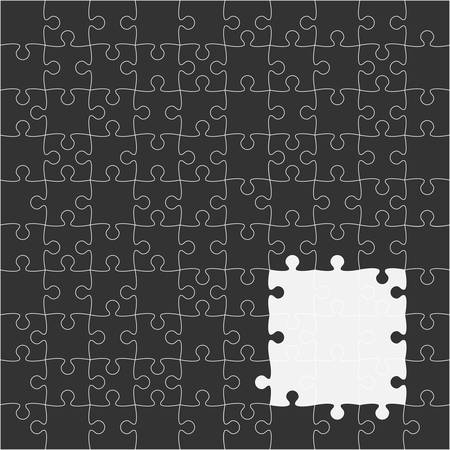 puzzles pieces: 100 Black Puzzles Pieces Arranged in a Square - JigSaw - Illustration.