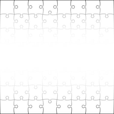 puzzles pieces: 64 White Puzzles Pieces Arranged in a Square - JigSaw - Illustration.