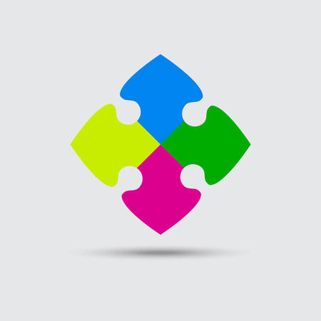 Puzzle Four Color Piece Sign Icon. Strategy Symbol. Puzzle Piece Button with Shadow. Modern UI website Navigation.