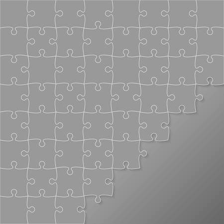 puzzles pieces: 64 Grey Puzzles Pieces Arranged in a Square - JigSaw - Illustration.