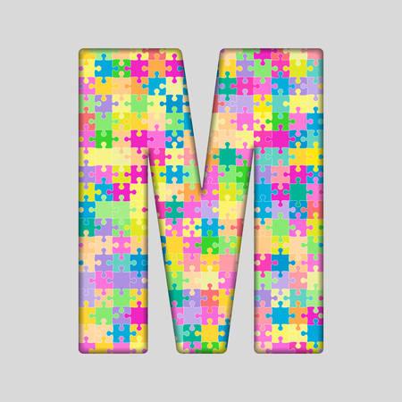 Puzzle Jigsaw Letter - M. Jigsaw made of Colored Puzzle Piece - Illustration. Puzzle Font. Creative Toy Alphabet. Web Design and Graphic . Ilustração