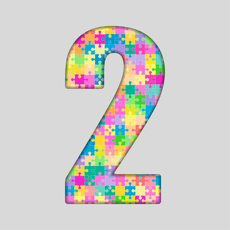 jig: Puzzle Jigsaw Number - 2 Two . jig saw made of Colored Puzzle Piece - Illustration. Puzzle Font. Creative Toy Numbers. Web Design and Graphic Illustration