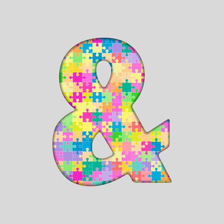 Puzzle Jigsaw - Ampersand Mark . Jigsaw made of Colored Puzzle Piece - Illustration. Puzzle Font. Creative Toy Numbers. Web Design and Graphic