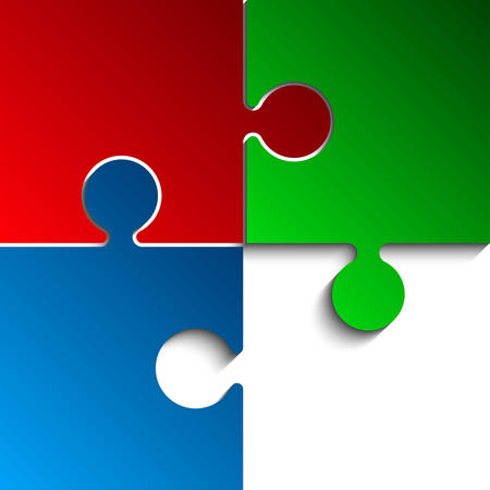 3 Puzzles Red Green Blue RGB Pieces Arranged in a Square - JigSaw - Illustration. Blank Template or Cutting Guidelines. Background.