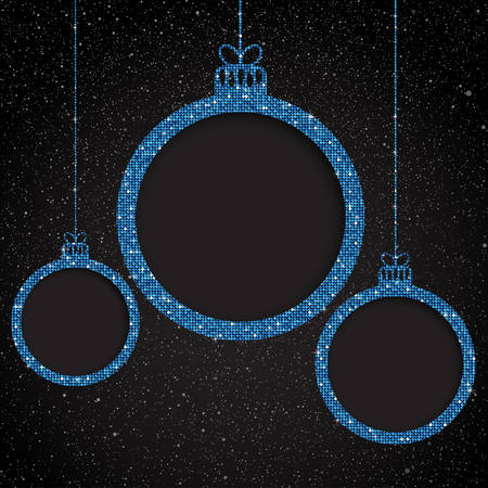 Blue Sequin Frame. Star sky. Christmas Ball.