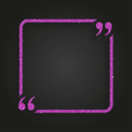 Pink Sequin Square Quote Blank Template.