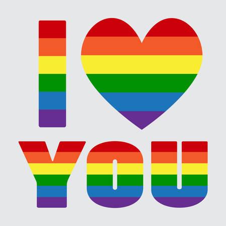LGBT Pride Flag Heart Rainbow Pride Symbol Illustration