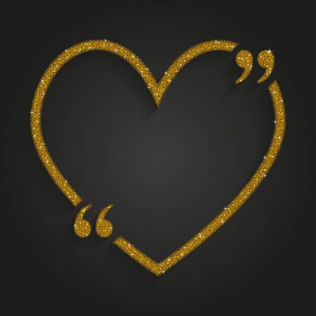 Gold Sequin Heart Quote. Love, Valentine Day. Illusztráció