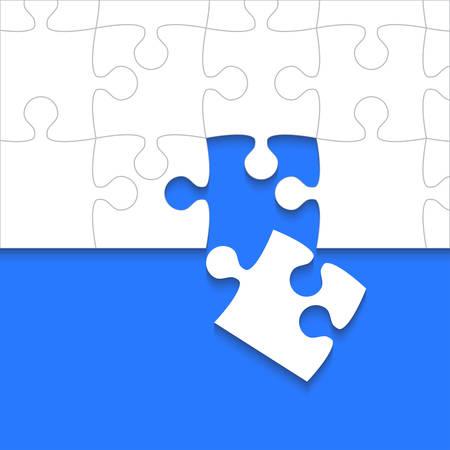 Quelques pièces de puzzles blancs bleus - vecteur puzzle