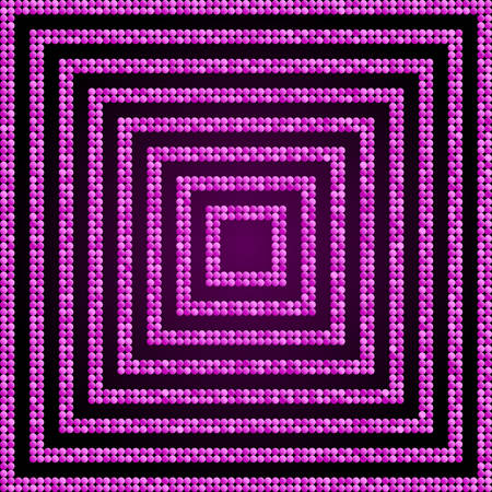 Concentric Square Pink Mosaic, Sequin, Glitter,
