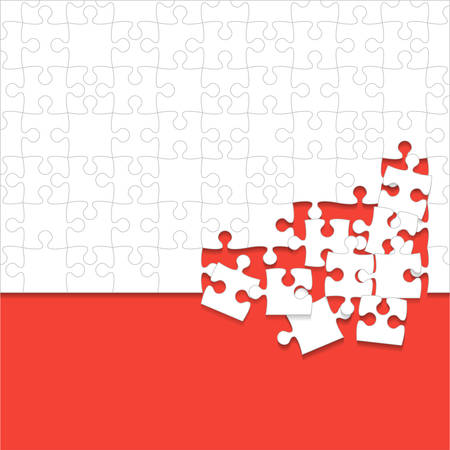Red and white puzzles pieces icon.