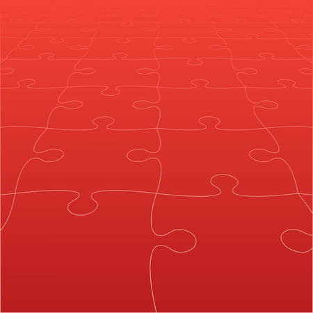 Perspective Red Puzzles Pieces - Vector Jigsaw