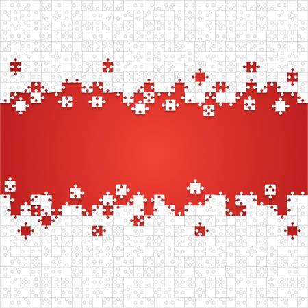 Quelques pièces de puzzles blancs en fond rouge - Illustration vectorielle. Modèle vierge de puzzle jigsaw dispersé. Fond de vecteur.