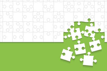 Quelques pièces de puzzles blancs en fond vert - Illustration vectorielle. Modèle vierge de puzzle jigsaw dispersé. Fond de vecteur.