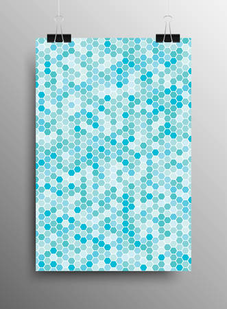 Vertical Poster Banner A4 Vector Paper Clips. Hexagonal Graphic Design. Vector Comb Illustration. Honeycomb Blue Background. Speaker Grille. Modern Abstract Texture. Template Print, Textile, Wrapping. Illustration