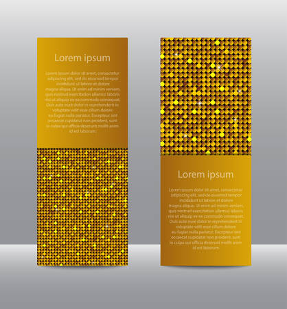 Golden Sequins Banners. Card, Brochure, Probe.