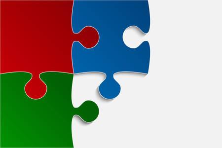 Vector Three RGB Piece Puzzle Jigsaw.
