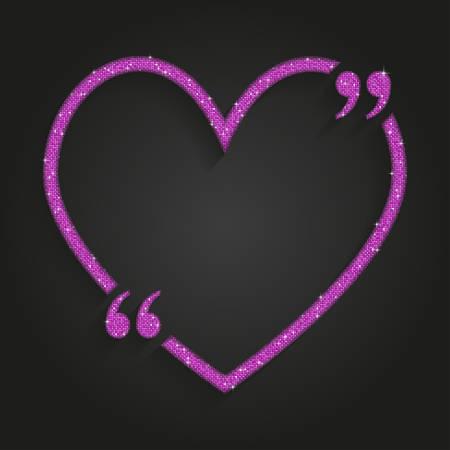 Pink Sequin Heart Quote. Illusztráció