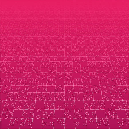 Perspective Pink Puzzles Pieces - Vector Jigsaw