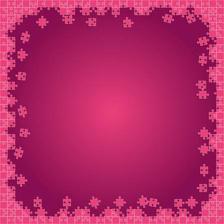 Pink Transparent Puzzles Pieces - Vector Jigsaw Illustration