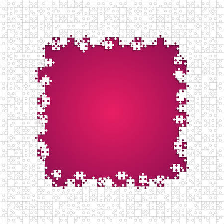 Frame White Puzzles Pieces Pink - Vector Jigsaw