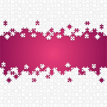 Some White Puzzles Pieces Pink - Vector Jigsaw Illustration